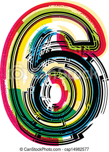 Colorful Grunge Number 6 Vectors Illustration Search
