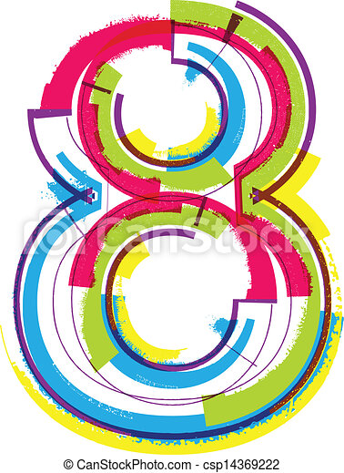 colorful grunge number 8 rh canstockphoto com Clip Art Number 12 Clip Art Number 12