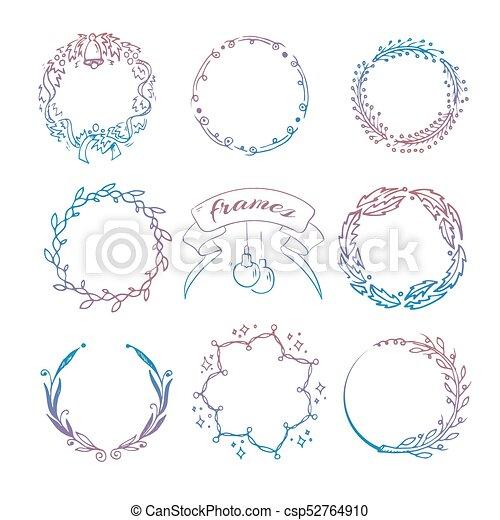 Colorful hand drawn christmas wreath frames set. Colorful hand drawn ...