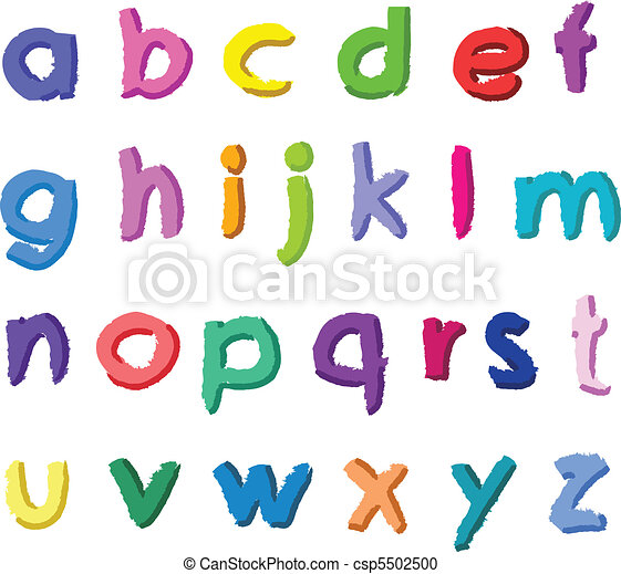 colorful hand drawn small letters colorful hand drawn small rh canstockphoto com vector letters png vector letters free download