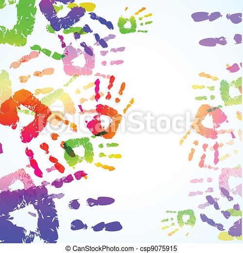 Colorful Hand Prints Background - csp9075915