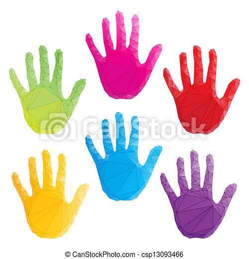 colorful hand prints vector, poligonal art - csp13093466