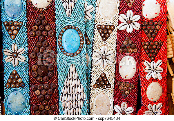 colorful handcrafted belts with sea shells - csp7645434