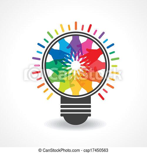 colorful hands make a light -bulb - csp17450563