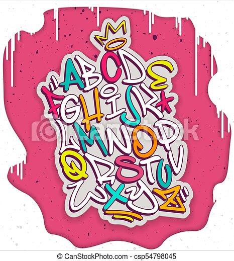 colorful handwritten graffiti font alphabet artistic hip eps rh canstockphoto com