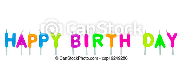 Colorful happy birthday candles on white background - csp19249286