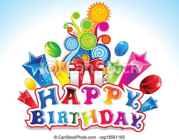 Colorful Happy Birthday Card Vector Illustration