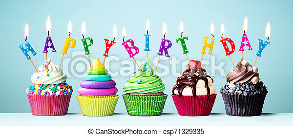 Phenomenal Colorful Happy Birthday Cupcakes Colorful Cupcakes With Candles Funny Birthday Cards Online Inifofree Goldxyz