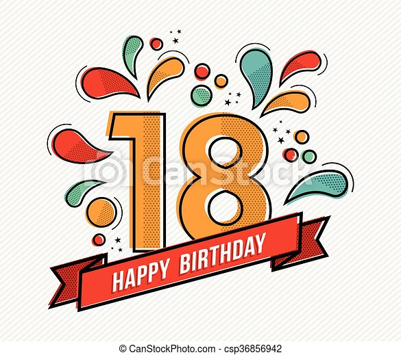 Colorful happy birthday number 18 flat line design. Happy birthday ...