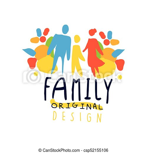 colorful happy family logo design with mother father and child