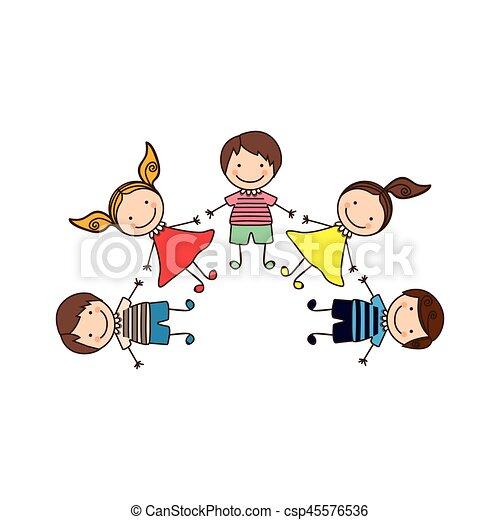 colorful happy set cartoon children holding hands vector vectors rh canstockphoto com Cartoon Family Holding Hands Cartoon Hands Holding Up