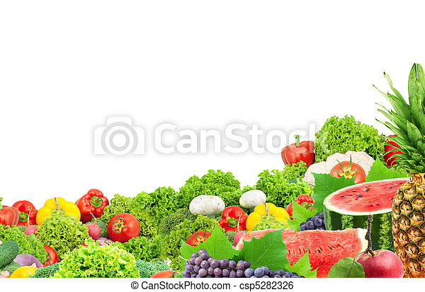 Colorful healthy fresh fruits and vegetables - csp5282326