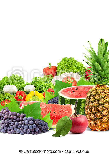 Colorful healthy fresh fruits and vegetables - csp15906459