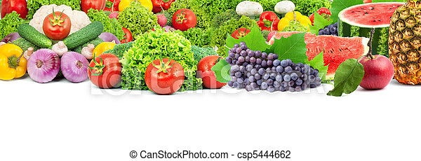 Colorful healthy fresh fruits and vegetables - csp5444662