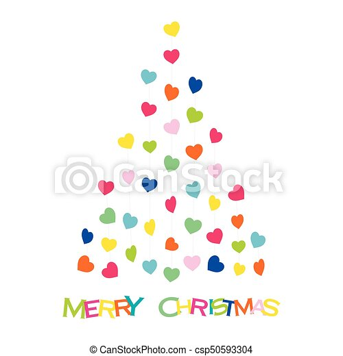 Colorful Christmas Tree Vector.Colorful Heart Shape Design Christmas Tree