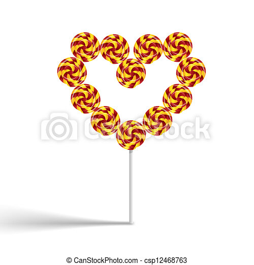 Colorful heart swirly lollypop - csp12468763