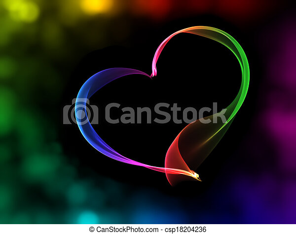 colorful heart with bokeh lights - csp18204236
