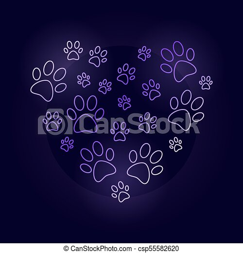 Colorful heart with dog prints outline vector illustration
