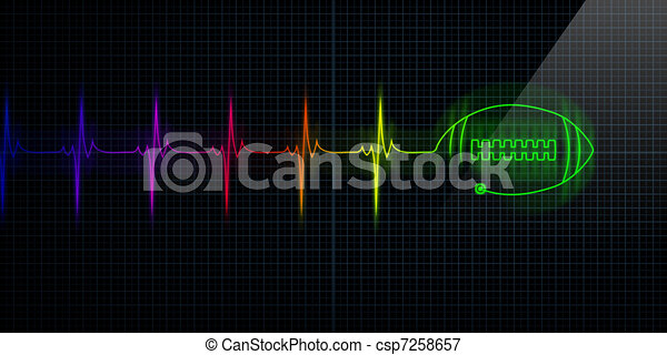 Heartbeat Line Art : Colorful heartbeat monitor with football stock
