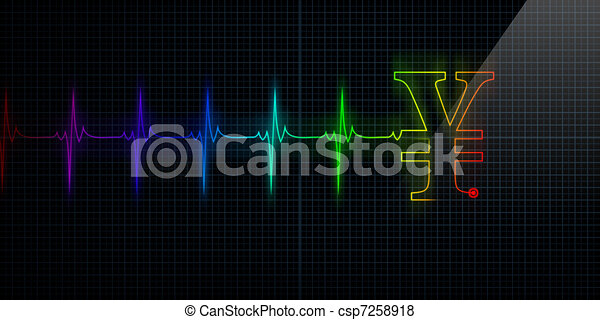 Heartbeat Line Art : Colorful heartbeat monitor with japanese yen or chinese stock