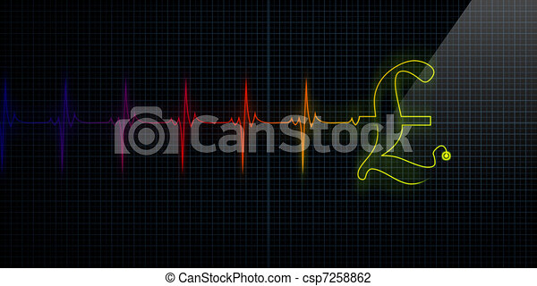 Heartbeat Line Art : Colorful heartbeat monitor with pound horizontal clip