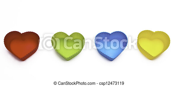 colorful hearts isolated on white background - csp12473119