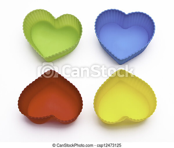 colorful hearts isolated on white background - csp12473125