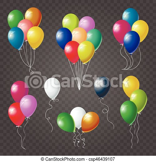 colorful helium balloons set on transparent background set vector clipart search. Black Bedroom Furniture Sets. Home Design Ideas