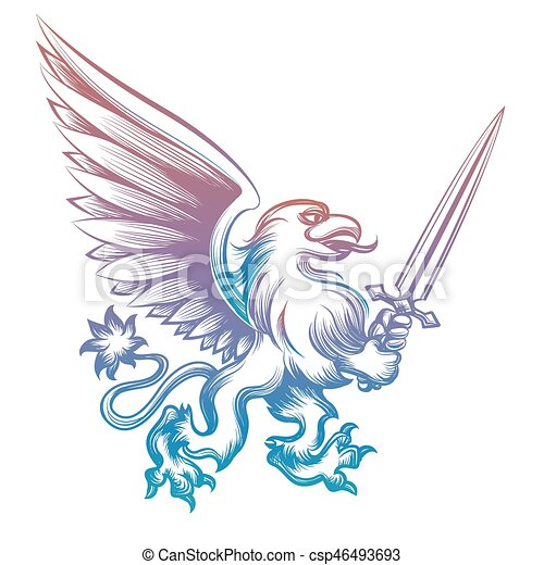 Colorful heraldy griffon with sword - csp46493693