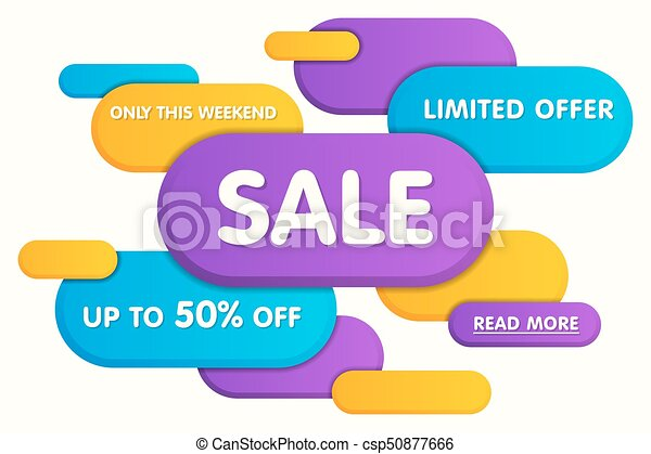 Colorful horizontal sale banner design. Vector illustration. - csp50877666