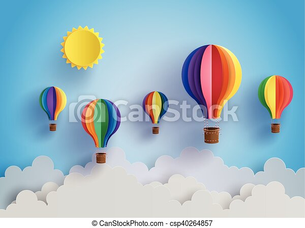 Origami Colorful Hot Air Balloons On The Blue Sky With Clouds ... | 341x450
