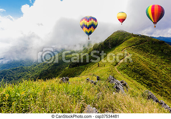 Colorful hot-air balloons flying - csp37534481