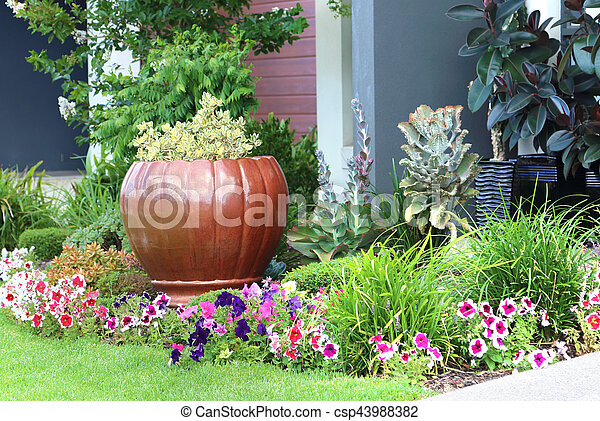 Colorful House Entrance With A Lot Of Flowers Colorful Landscaped