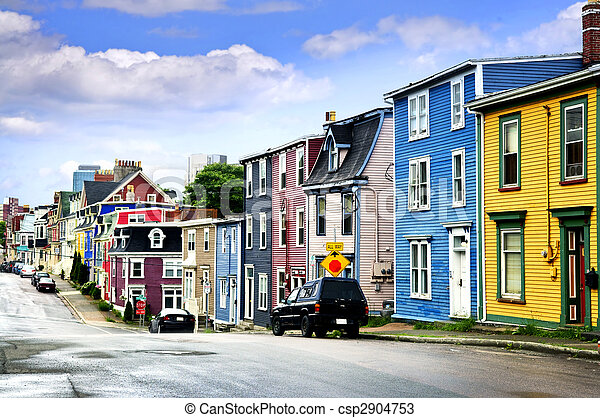 Colorful houses in St. John\'s - csp2904753