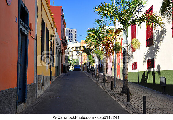 colorful houses on a street of santa cruz tenerife canaries csp6113241