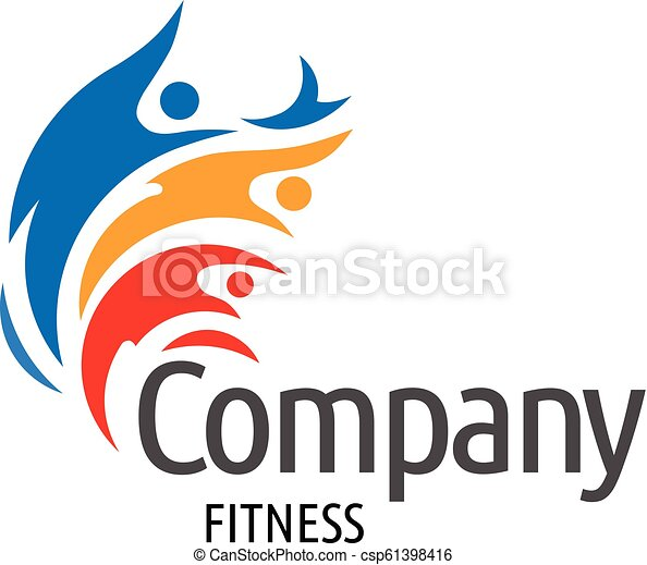 colorful human figure active Fitness logo - csp61398416
