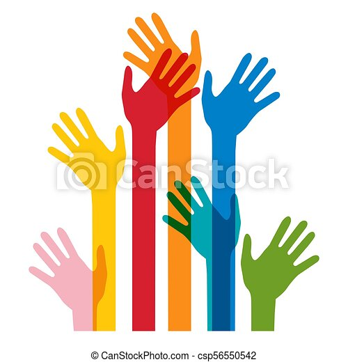 Colorful Human Hands Isolated on White Bckground - csp56550542