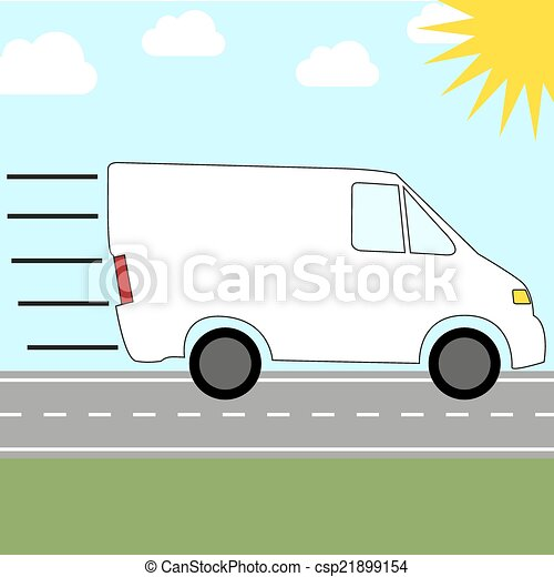 Colorful icon for sending by courier service - fast riding van - csp21899154