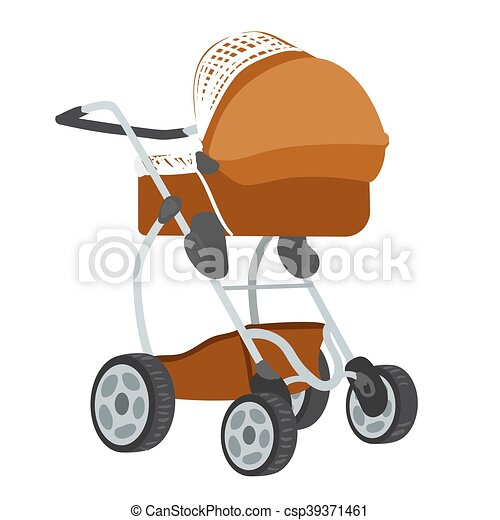 Colorful illustration of baby stroller - csp39371461