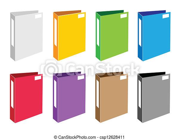 Colorful Illustration Set of Office Folder Icons - csp12628411