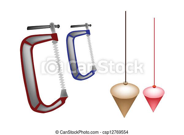 Colorful Illustration Set Of Plumb Bob And Clamp