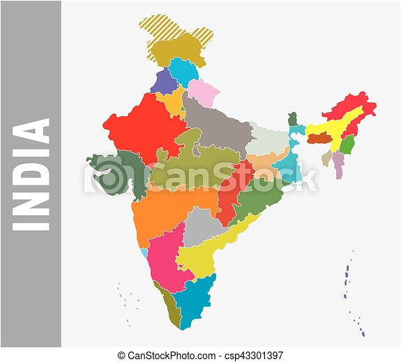 Colorful india administrative and political vector map eps vectors