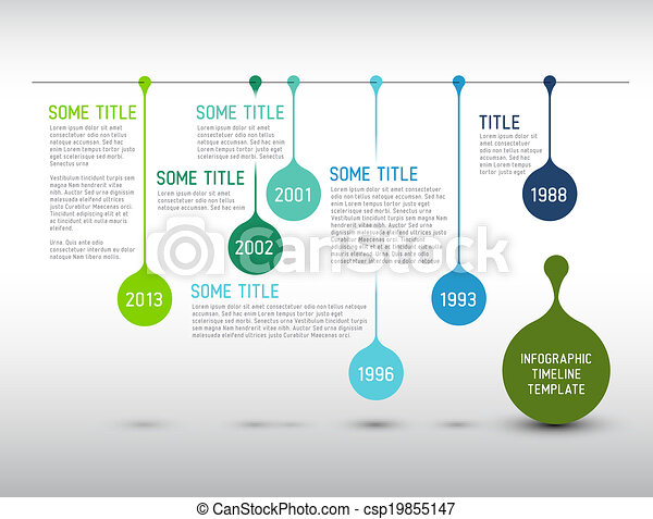 Colorful Infographic timeline report template with drops - csp19855147