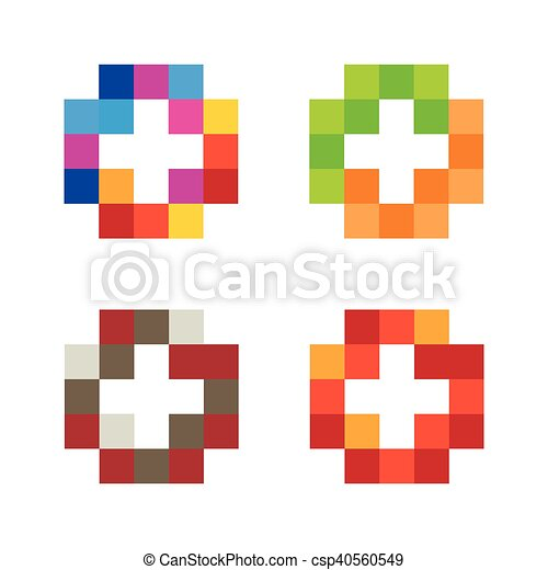 Colorful Isolated Mosaic Cross Logo Set Tile Element Collection Religious Sign Medical Symbol