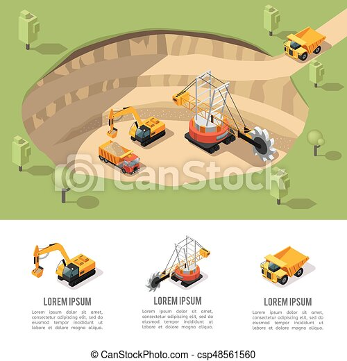 Colorful Isometric Coal Extraction Composition - csp48561560