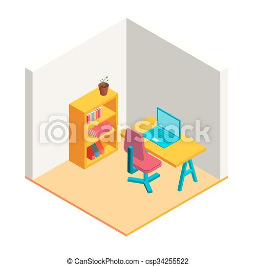 Colorful isometric office illustration  - csp34255522