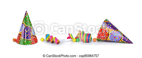 colorful items for event  celebration  isolated on white background in panoramic view - csp85984757
