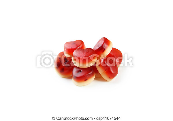 Colorful jelly candies isolated on white - csp41074544