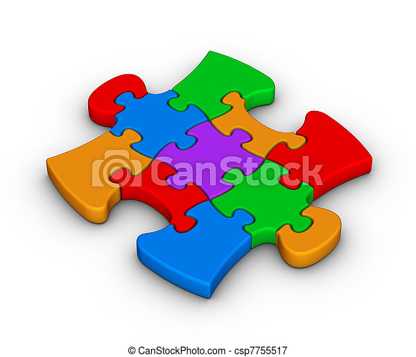 colorful jigsaw piece - csp7755517