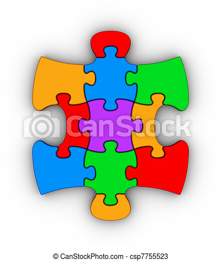 colorful jigsaw piece - csp7755523